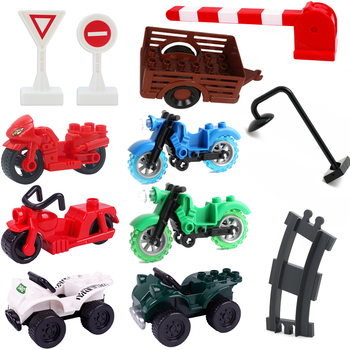 Duplo City Constructor Building Blocks Barrier Stree Light Train Track Barrow Toy For Children Traffic Sign Technic Motorcycles image