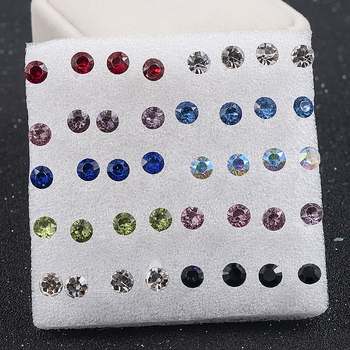 20 Pairs/Set 2mm,3mm,4mm,5mm Fashion color white Crystal Prevent allergy Cute Ear Stud Earrings Women Jewelry festival Gift 2