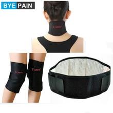 1 セット byepain ヘルスケア磁気治療トルマリン膝サポートパッドで設定ネックマッサージブレースサポートとウエストベルト