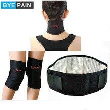 1 ensemble BYEPAIN soins de santé thérapie magnétique Tourmaline ensemble avec genouillères Support cou masseur orthèse et ceinture