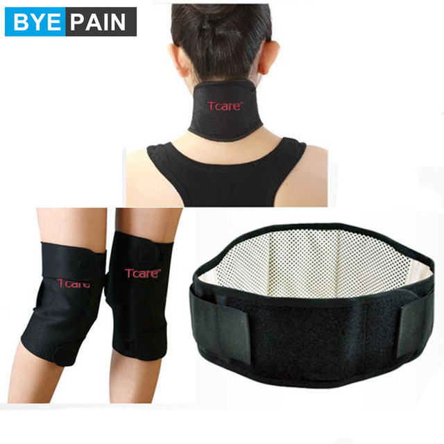 1Set BYEPAIN Health Care Magnetic Therapy Tourmaline Set with Knee Support Pads Neck Massager Brace And Waist Belt