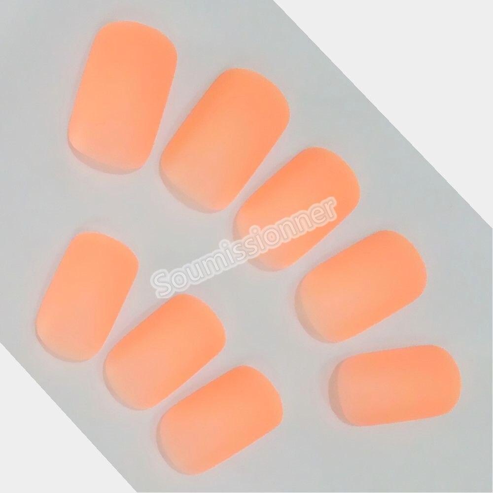 Atacado fosco laranja artificial unhas falsas na