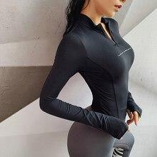 Yoga topos das mulheres do esporte s m l malha de ar manga longa camisa yoga correndo jogging esporte topos fitness workout ginásio roupas