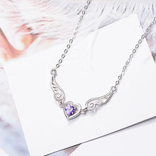 925 Sterling Silver Crystal Heart Angel Wings Charm Necklace For Women choker Jewelry Prevent allergy dz274(China)