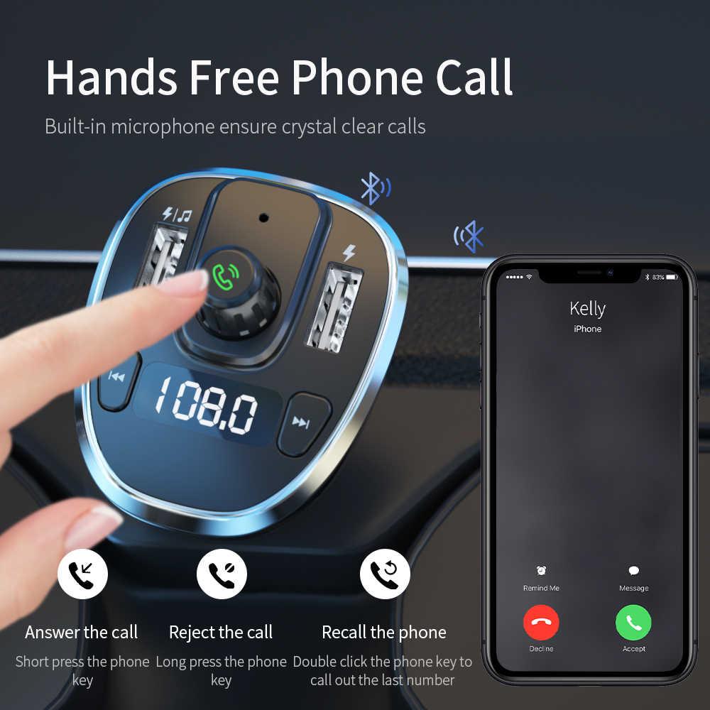 Essager Usb Mobil Charger Nirkabel Bluetooth 5.0 Mobil Kit Handsfree Fm Transmitter MP3 Cepat Charger untuk iPhone Xiaomi Ponsel