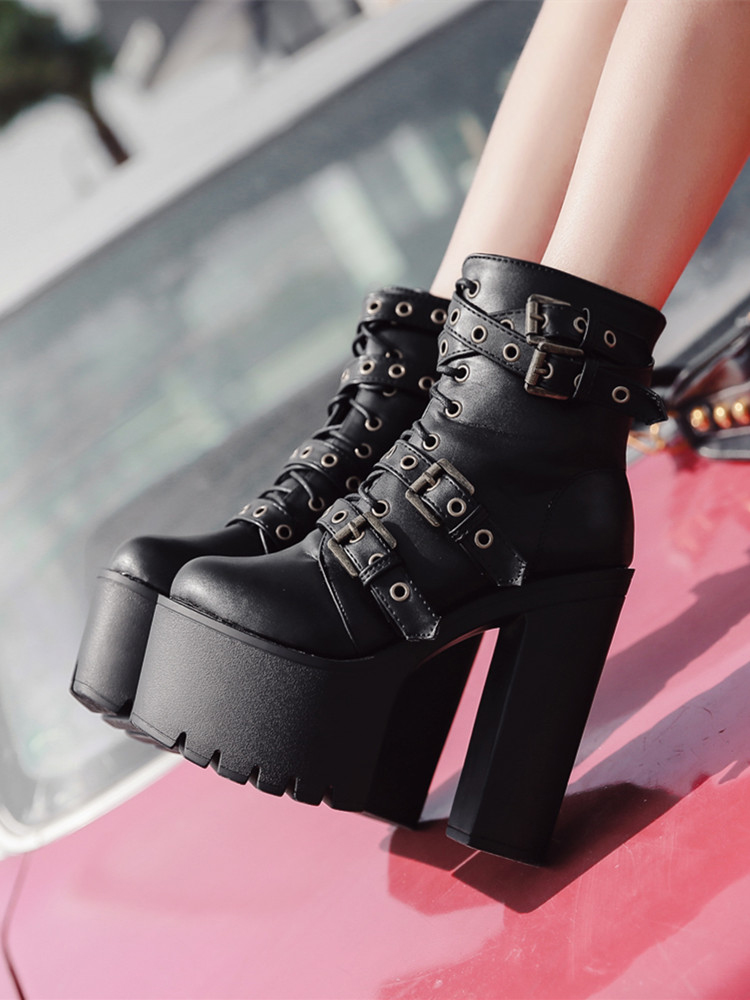 Gdgydh Ladies Boots Shoes Women Platform High-Heels Black Sexy Winter Rivet Autumn Ankle