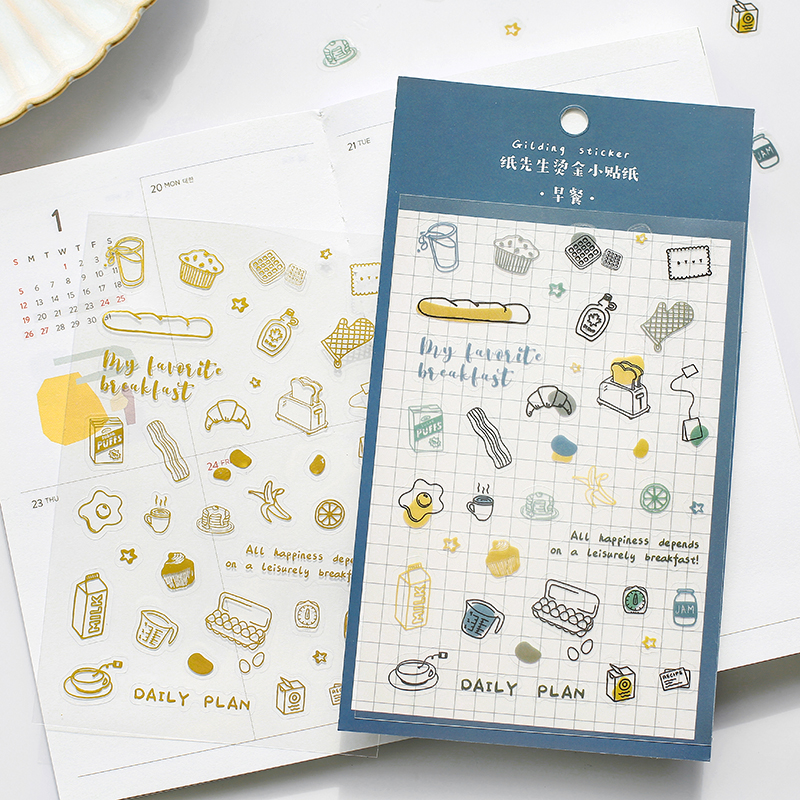 Everything Cute Series Journal Decorative Gilding Stickers Scrapbooking Stick Label Diary Stationery Album Flower Stickers