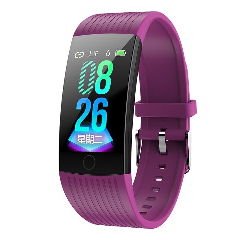 Фитнес-трекер монитор артериального давления Браслет Водонепроницаемый сенсорный экран ультра-тонкий смарт-часы браслет для iOS Android - Цвет: Purple