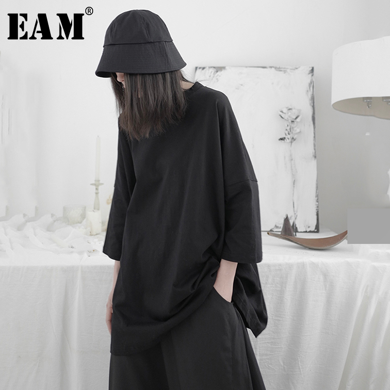 [EAM] Women Black Brief Big Size Long T-shirt New Round Neck Three-quater Sleeve  Fashion Tide  Spring Summer 2020 1T664