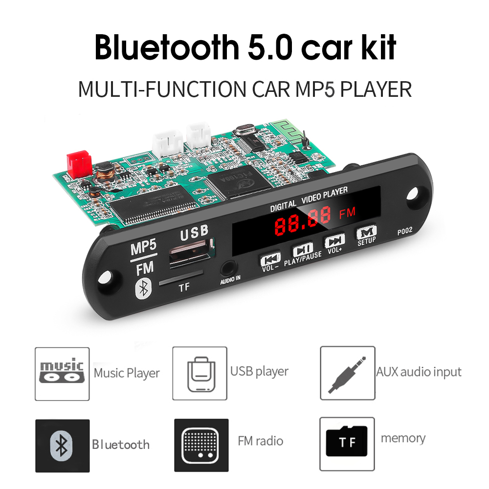 MP5 Bluetooth Audio Video Decoder Board Support USB TF MP3 WAV Lossless Decoding Diy Car Kit Electronic PCB Board Module