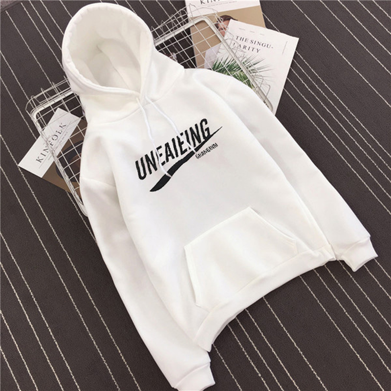 winter Hot Sale letter print black white joker hoodies Harajuku Harbor wind oversized sweatshirt pocket hip hop style clothes