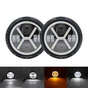 "Image 4 - 2X 7Inch LED Headlamps with Halo Ring Amber Turn Signal For lada niva 4x4 suzuki samurai 7"" LED DRL Halo Headlights For VAZ 2101"