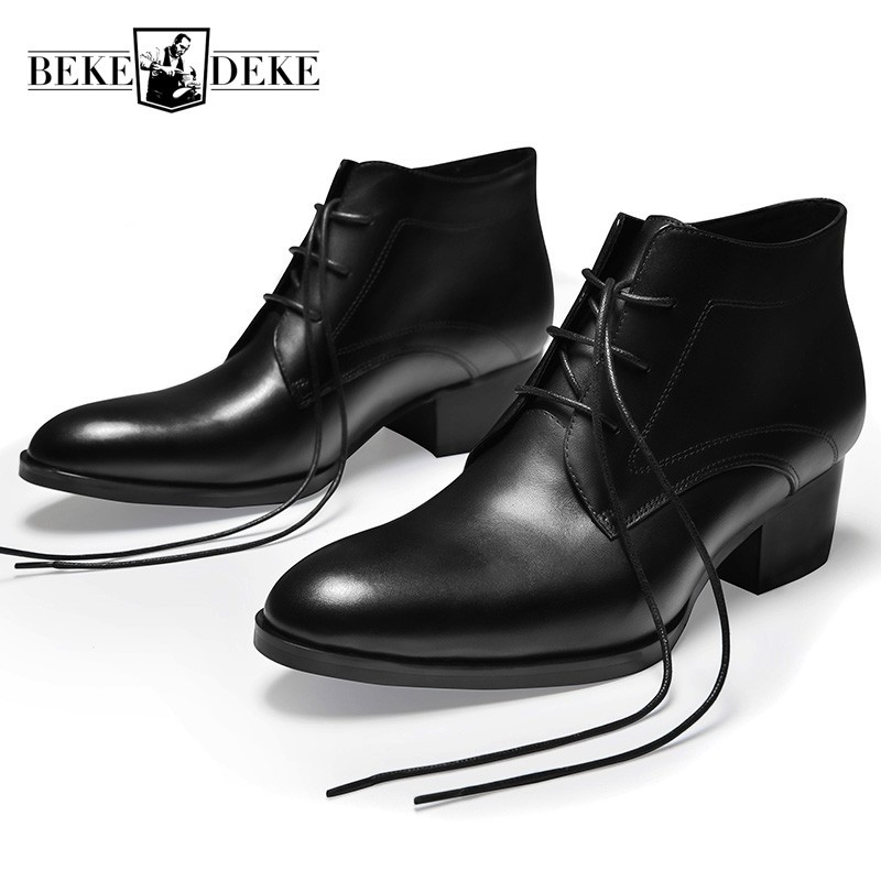 Black Round Toe Spring Autumn Man  Boots Lace Up High Heel Genuine Leather Work Boots 2020 Fashion Casual Warm Ankle Shoes