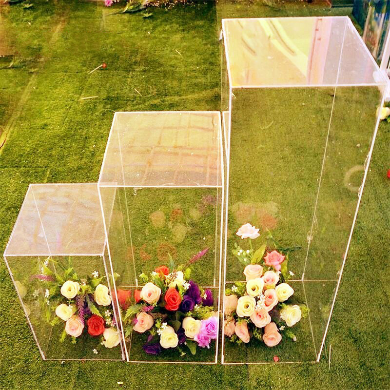 Stand Crystal Clear Flower Column Acrylic Wedding Square Party Frame Decoration Wedding Flower Decoration Column Road Aisle