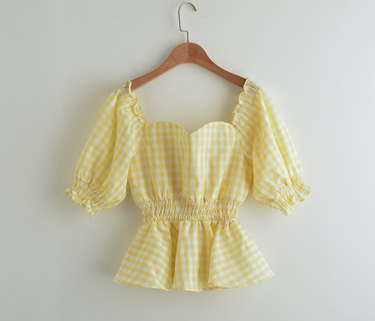 Sweater Yellow Blouse 2020 Summer Puff Short Sleeve square Collar Backless Tunic Crop Top Plaid Shirt Women