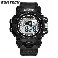 Sumtock Men Watch Digital Big Dial High Quality Band Alarm Stop watch Men Fashion Back Light Shock Resistant Boy Sport Watch стоимость