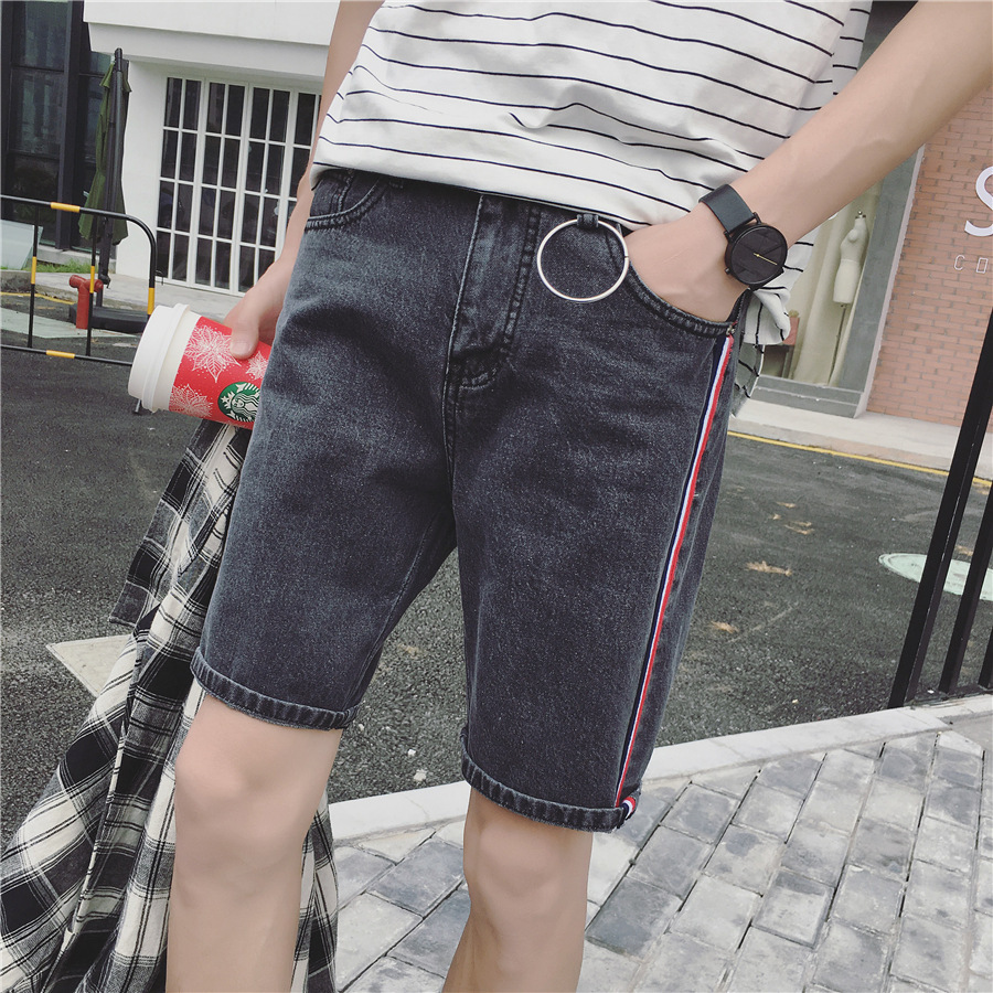 Summer Men Thin Elastic Denim Shorts Young MEN'S Shorts Slim Fit Straight-Cut 5 Shorts Fashion Man