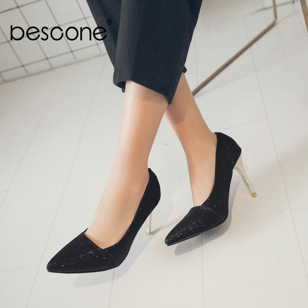 Image 4 - BESCONE Elegant Ladies Pumps Sexy Pointed Toe Office Shallow Thin Heel Shoes Handmade Slip On Super High Heel Women Pumps BM92Womens Pumps   -