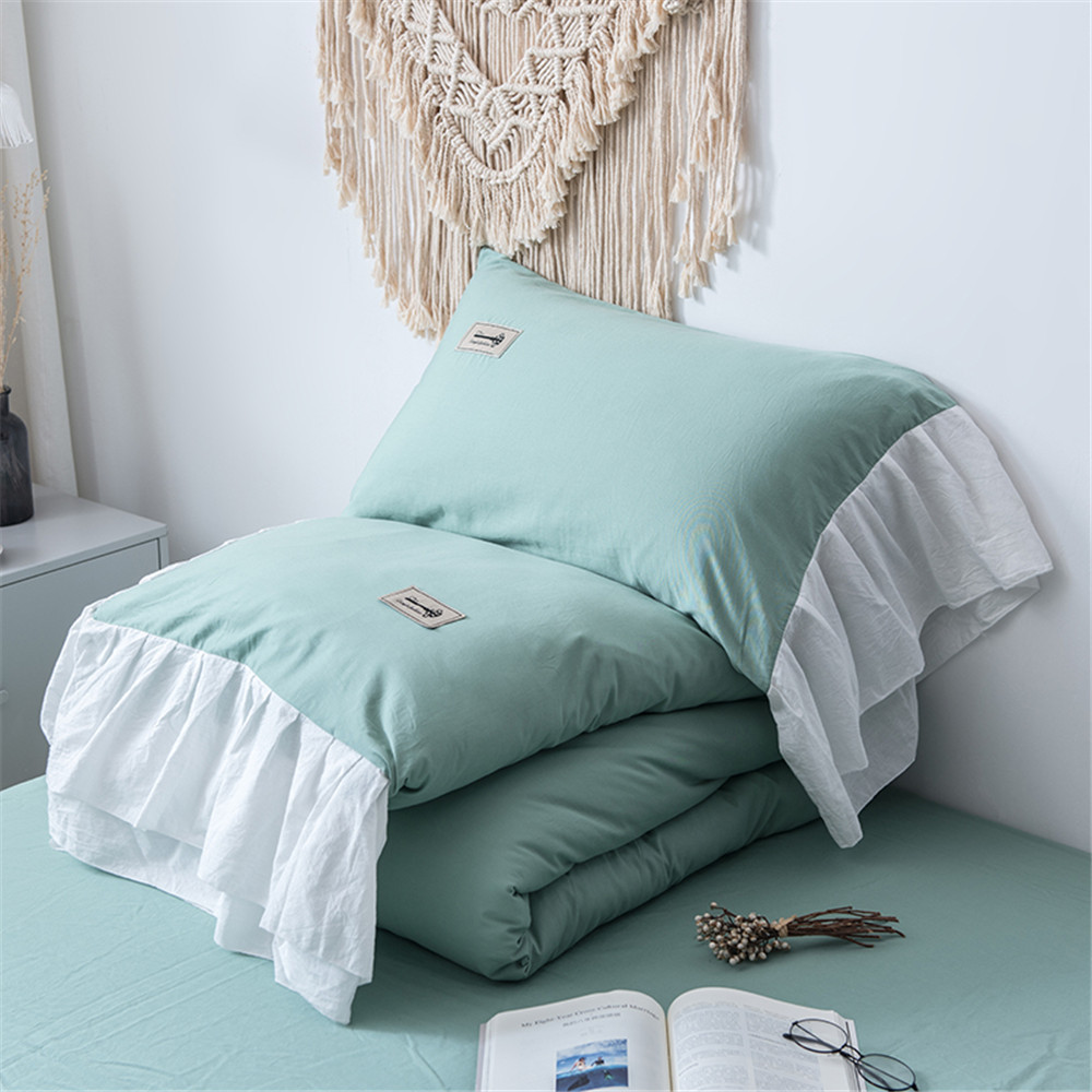Cotton Washing Contrast Color Summer Quilt Three Four piece Set Fish Beauty Flounced Hem Princess Style Summer Cool Airable Cove|Comforters & Duvets| |  - title=
