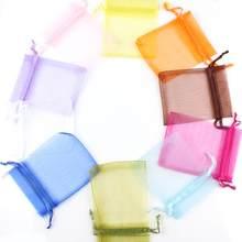 Sacs en Organza 7x9 9x12 10x15, pochettes d'emballage pour bijoux, cadeaux, fiançailles, décoration de fête de mariage, pochettes d'emballage à cordon coulissant