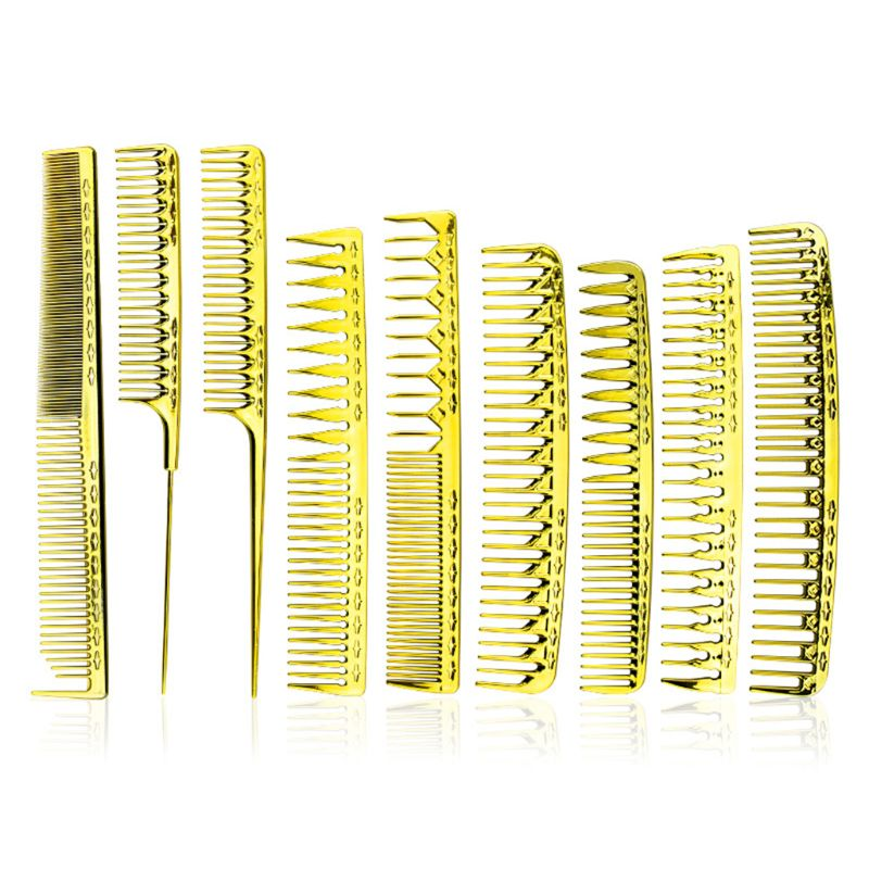 Multi-function Electroplating Golden Barber Comb Light Portable Men Women Combs
