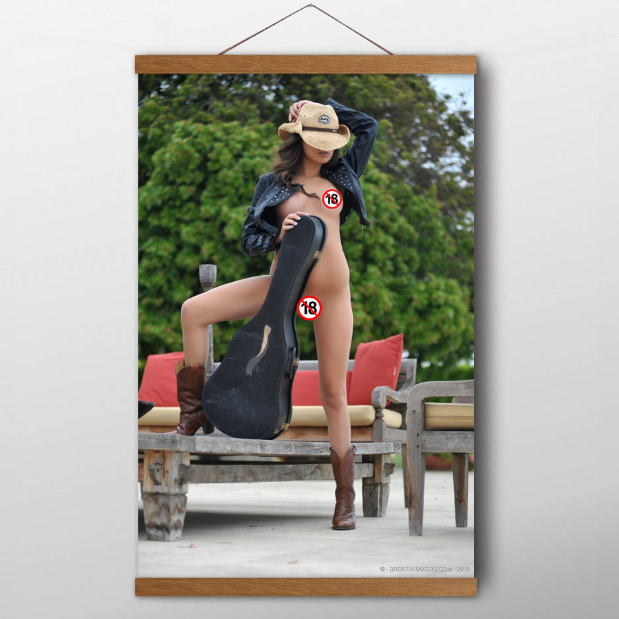 Solid Wood Scroll Paintings Sexy Girl Nina James Violin Model Photo Wall Art Posters Canvas prints art For Living Room Decor 1