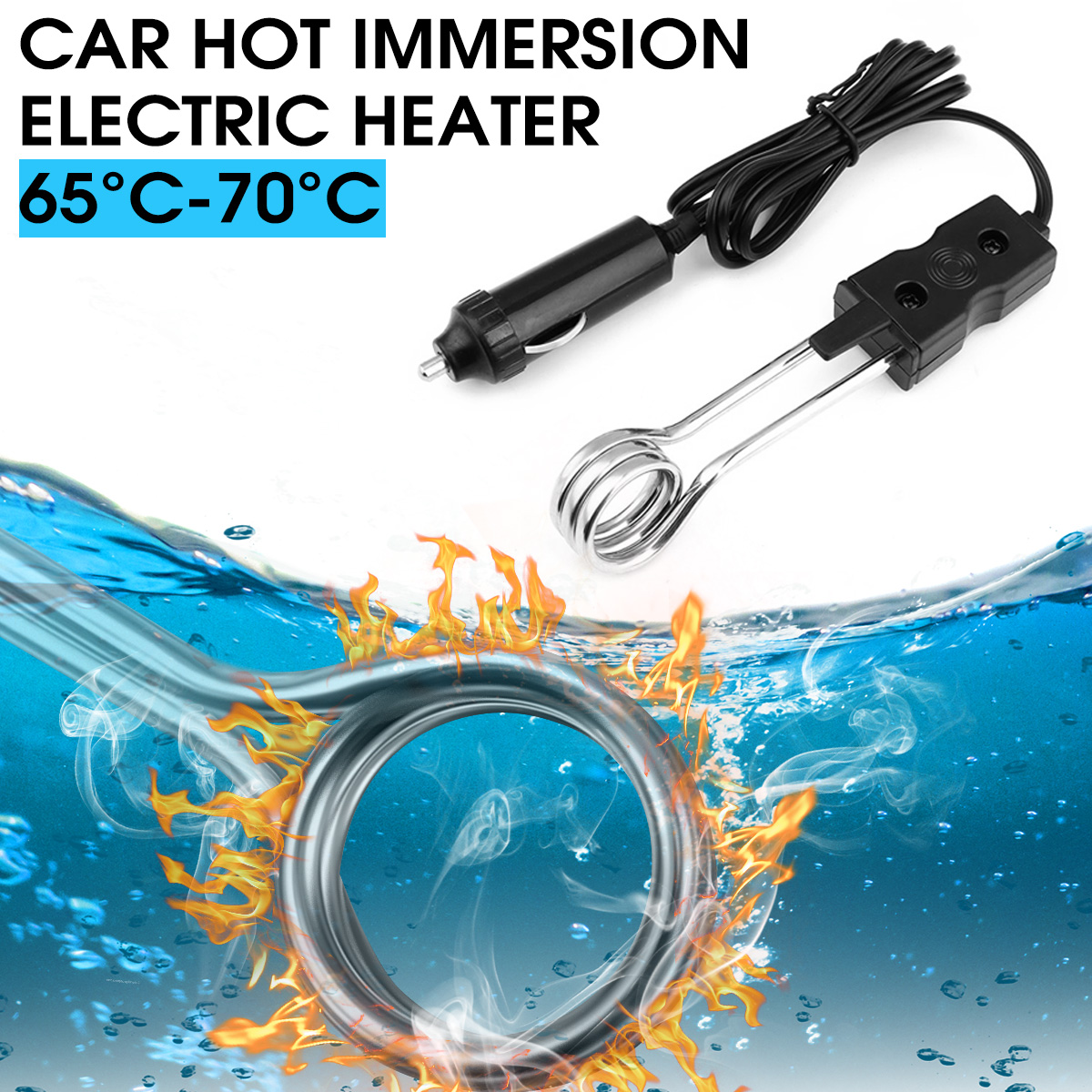Best Price  Black 12V 120w Hot Immersion Electric Heater Element Kettle Mug Water Tea Coffee Car