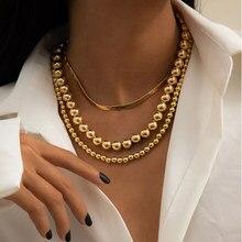 Punk 3 pçs/layerd bola contas correntes colar para mulher hip hop miami rapper homens cobra cadeias colar conjunto jóias colar charme