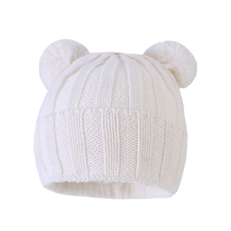 High Quality 0 4Y Newborn Soft Warm Hats Winter 2019 Baby Boy Black Cotton Knitted Caps With Pom pom Kids Girls Beanie Skull in Men 39 s Skullies amp Beanies from Apparel Accessories