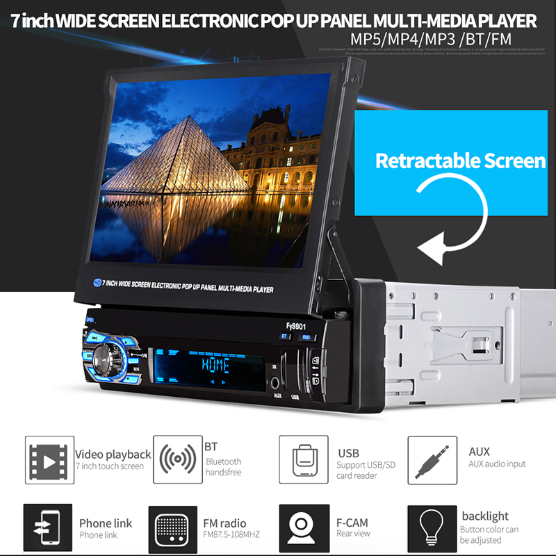 MP5 Auto Media Player Retractable 1 Din Car Radio With Gps And Screen Bluetooth Audio MP5 12V FM  Car Radio Para Auto Multimedia