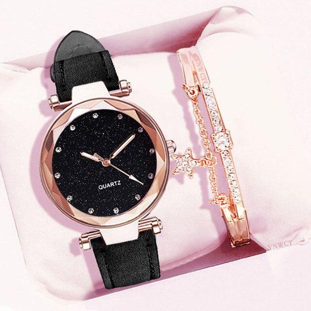 Reloj de pulsera de cielo estrellado para mujer, con diamantes de imitación, de cuero, femenino