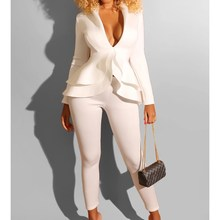 Women Deep V-Neck Tops And Pencil Pants Two Piece Set Autumn Solid Long Sleeve High Waist Slim Suit Casual Outfits
