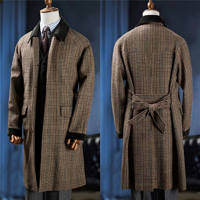 Men's Warm Jacket Winter Coat Plaid Fur Collar Single-Breasted Long British Style Overcoat Casual Fashion Handsome Top Men Men Long Fur Collar Coat cb5feb1b7314637725a2e7: PIC