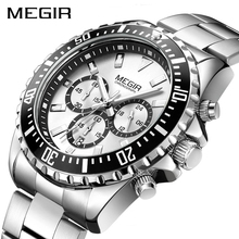 Часы наручные MEGIR Мужские кварцевые, брендовые деловые армейские в стиле милитари, с хронографом из нержавеющей стали, 2064