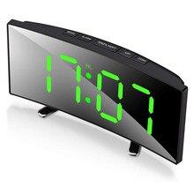 7 Inch Digitale Wekker Gebogen Dimbare Led Elektronische Digitale Desktop Klok Voor Kinderen Slaapkamer Grote Nummer Tafel Klok