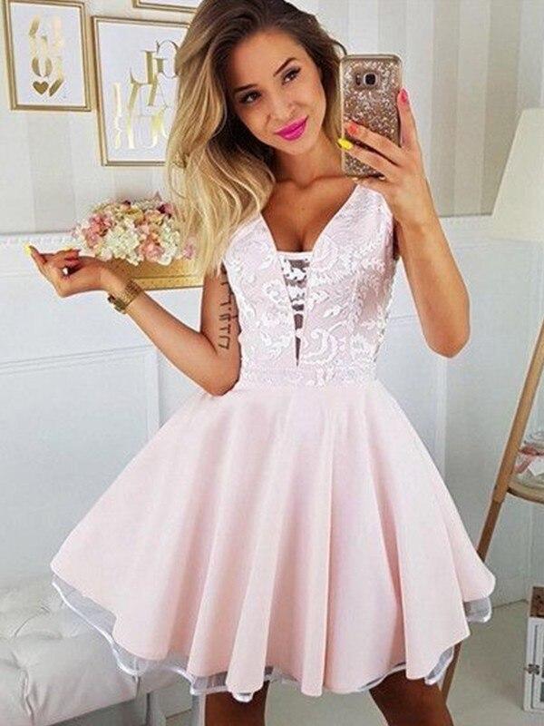 2020   Cocktail     Dress   A-Line/Princess Satin Applique V-neck Sleeveless Short/Mini Homecoming   Dress   for Party