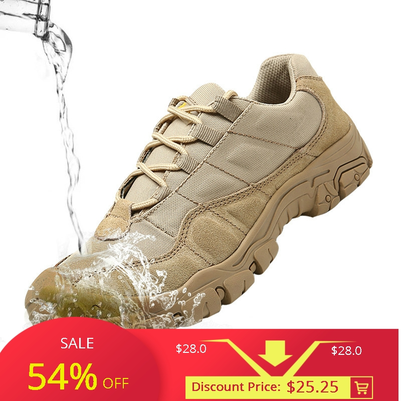 Outdoor Men Hiking Shoes Waterproof Breathable Tactical Combat Army Boots Desert Training Sneakers Anti-Slip Trekking Shoes Велюр