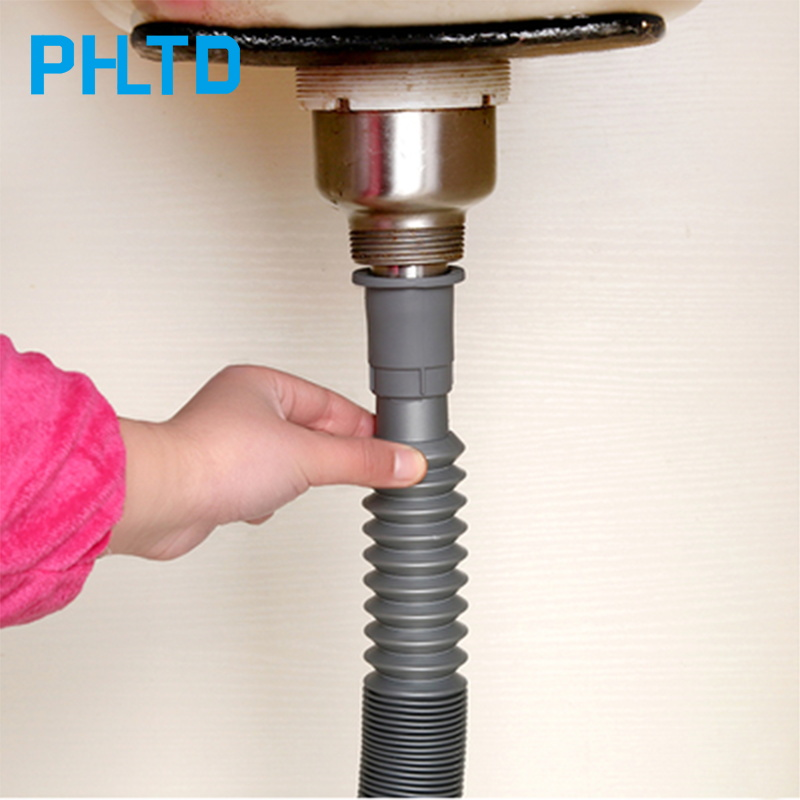 Sink Drain Pipe Deodorant Telescopic  Water Pipe Kitchen Drain Pipe Bathroom Drain Pipe Telescopic Pipe Sink Waste Pipe Bendable