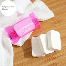 Ahsnme 20 pces algodão puro descartável comprimido portátil toalha de rosto de viagem água molhado toalha toalha toalha toalha toalha de lavar guardanapo umedecido