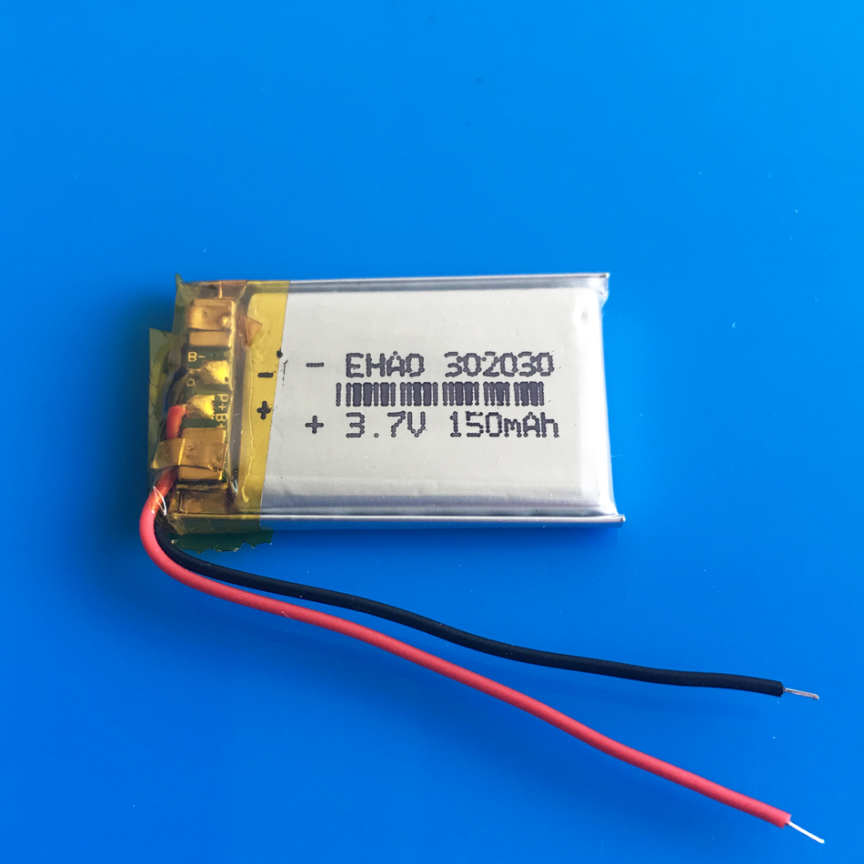 <font><b>3.7V</b></font> <font><b>150mAh</b></font> 302030 032030 lithium polymer lipo rechargeable battery power for MP3 GPS bluetooth speaker bluetooth headset camera image