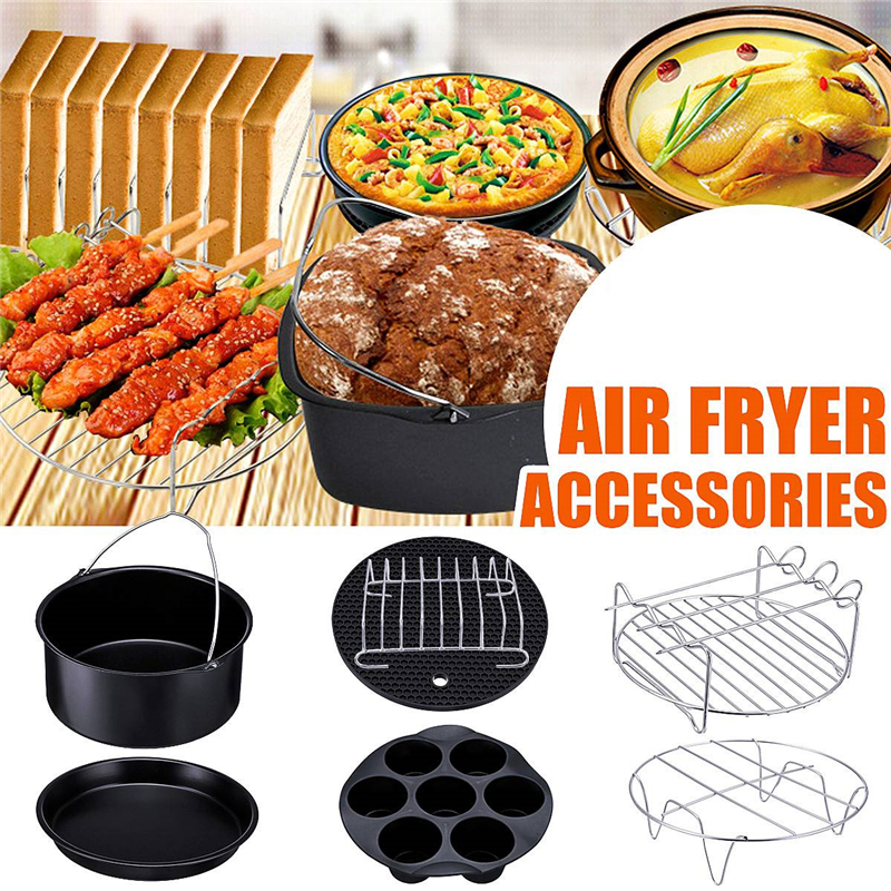 Air Fryer Accessories Set High Quality Baking Basket Pizza Plate Grill Pot Kitchen Cooking Tool 7/8/9 Inch Air Deep Fryer Parts