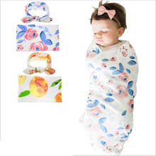 Swaddle Blanket Muslin-Wrap Baby 2pcs/Set Headband Fashion