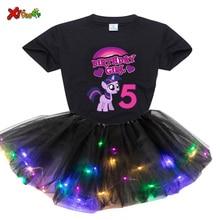 Conjunto de vestido de princesa para niña, conjunto de 2 piezas de Vestido ligero y camiseta, diseño de tu nombre y número, regalo de cumpleaños