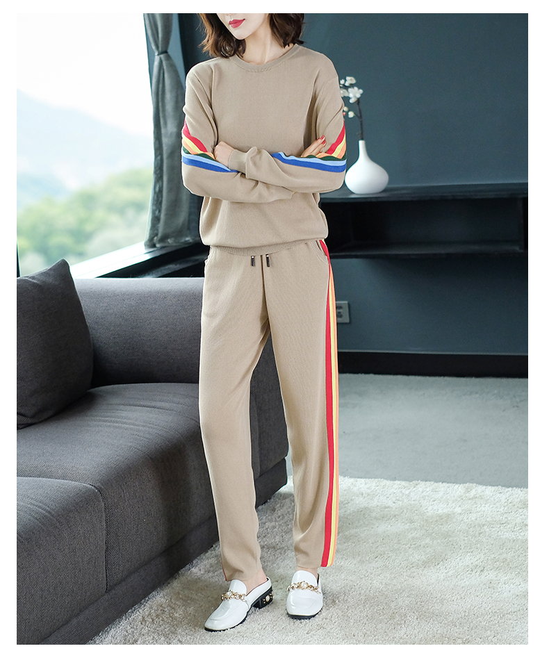 2019 Autumn Knitted Casual Striped Two Piece Sets Outfits Women Sweater And Pants Suits Fashion Elegant Korean Tracksuit Sets 55