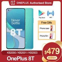 Original oneplus 8 t 8 t 5g smartphone 120hz fluido amoled display snapdragon 865 65w urdidura carga um mais 8 t telefone móvel