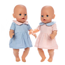 2019 New denim dress Doll Clothes Fit For 43cm baby Doll clothes reborn Doll Accessories(China)
