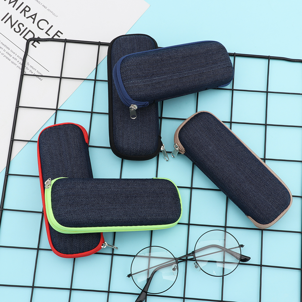New Fashion Denim Fabric Glasses Box Zipper Sunglasses Protection Crush Resistance Container Eyeglasses Case