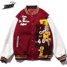 Hip Hop kurtki baseballowe męskie litery naszywane patchworkowe kolor bloku kurtki typu College mężczyzna Harajuku Bomber kurtka Varsity kobiet