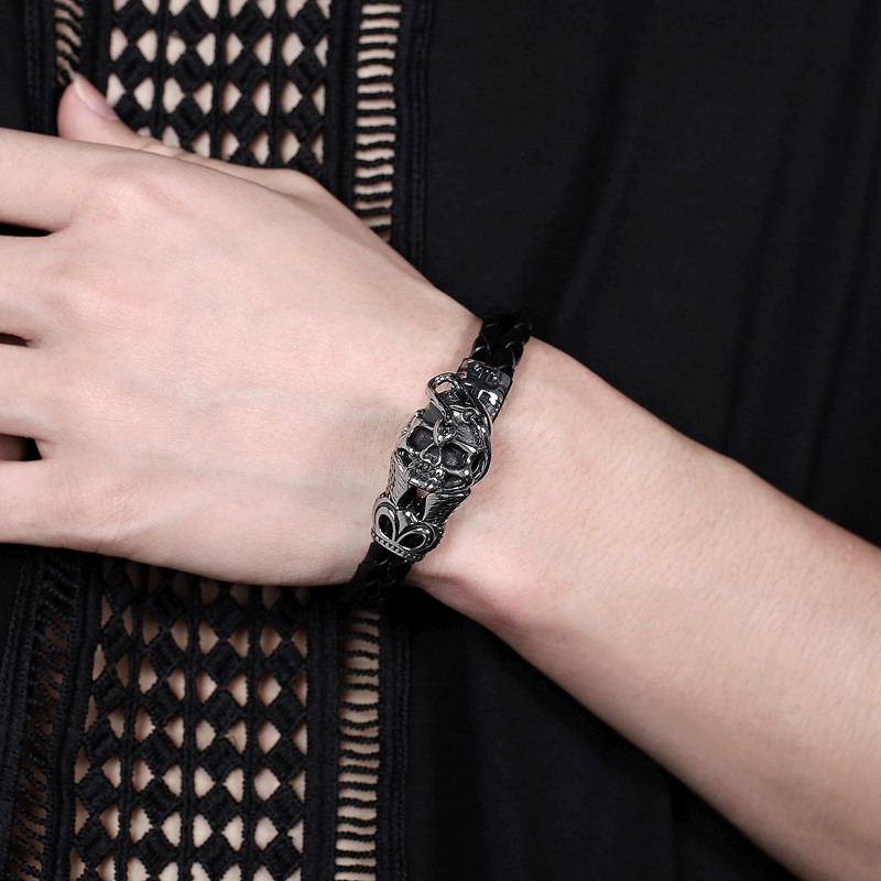Fashion Hot Men Jewelry Black Double Layer Leather Bracelet Stainless Steel Skull Skeleton Punk Charm Gift Bangle PS1020