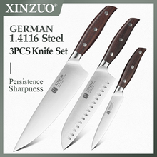 XINZUO Kitchen Tools 3PCS Kitchen Knife Set Utility Chef Satoku Knife German 1.4116 Stainless Steel Super Sharp Chef Accessories